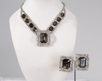 Vintage 1950s Rhinestone Wedding Necklace Earring Set - Black Diamond Bridal Fashions
