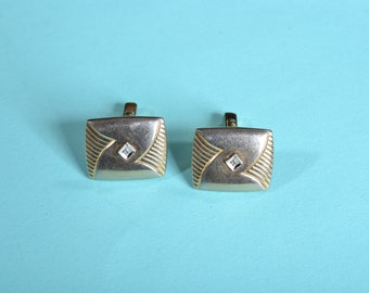 Vintage 1940s Anson Cufflinks - Gold Toned Mixed Metal - Wedding Grooms Gift