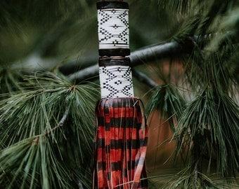 Tassel King: Large African Tuareg Geometric Tribal Leather Fringe, Boho Jewelry Supply, Decor, Accessory, Necklace Pendant, Charm 1 piece