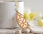 Long Boho Necklace with Peach Jewel Pendant and Mint Crystals in Gold.  Long Gold Necklace. Pendant Necklace.  Statement Necklace. Gift.