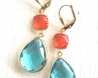 Aquamarine and Fire Orange Bridesmaid Earrings. Jewel Fashion Earrings. Blue Zircon and Orange Dangle Earrings. Drop Earrings. Gift.