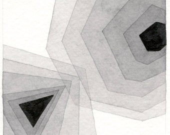 "Neutral Tint: original geometric watercolor on 4""x4"" paper shades of grey modern minimalist modern art by Nikki Galapon"