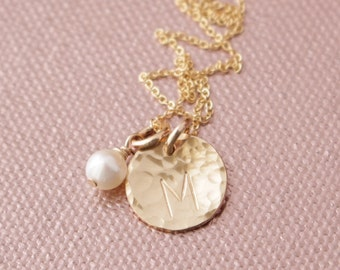 """Gold-Filled Hammered 1/2"""" Initial Pendant and Swarovski Pearl Necklace - Mom Mother Mommy Children Family Wedding Bridal Party ift  BP-110"""