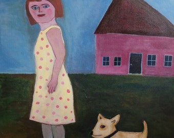 Portrait painting // girl portrait // Girl and her dog // original art // acrylic painting on 32 x 44 canvas