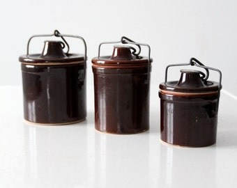 vintage stoneware canning jar collection, set/3 jars