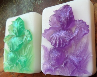 Green or Purple IRIS FLOWER SOAP Set, Flower Soap Set, For Mom, Mother's Day Gift, Spring Soap, Iris Garden Soap