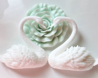 SWAN SOAPS, Bird Soaps, Swan Lake, Swan Love, White Swans-Wedding Favors, Swan Love, Custom Scented, Vegetable Based Handmade