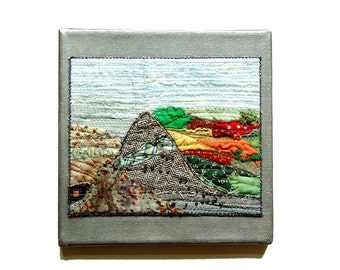Climb that Mountain, abstract landscape, Textile Wall Art, Embroidery Beads, Wall Decor, silver grey, neutrals, red green, mounted on canvas