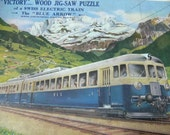 "Vintage Wood Jigsaw Puzzle Made in England - ""Victory"" by G.J. Hayter Co. - Swiss Electric Train - The Blue Arrow"