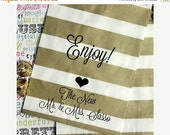 XOXO SALE 100 Personalized Gold Stripe Candy Bags, Custom Printed Wedding Favor Bags, Enjoy with Heart