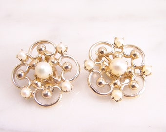 Vintage 14k Yellow Gold Pearl Filigree Clip On Earrings 14k Yellow Gold