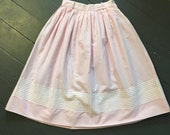 Vintage 1950s Pastel Pink Gingham Calico Print Pleated Striped Full Circle Skirt Small