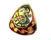 Vintage Celtic Peacock brooch enamel  Gold Plate TARA Ware Ireland Ancient PURITY symbol Unisex Book of Kells