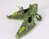 Moss Green Fairy Shoes christmas tree ornament faerie fantasy decoration holiday decor magical elf shoe slipper elf faerie shoe doll shoe