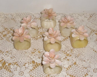 Vintage Napkin Rings - 7 Peach Mother of Pearl Shell Napkin Rings, Wedding or Shower Decor, Beach Nautical Decor