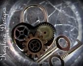 Steampunk , Gears, Heart Lock, lock, BDSM Lock, lock and key, locking Jewelry