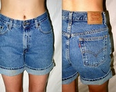 ON Hold until 10/3  .. vintage 80s Levis jeans shorts / 1980s high waist waisted denim / cuff roll up DIY cut off ..  waist 28