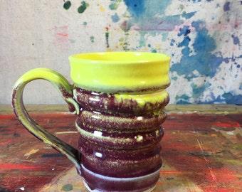 16 OZ. Swirly Tall Mug Two Toned raspberry red and yellow #0000038