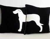 BLACK FRIDAY CLEARANCE! Black and offwhite Great Dane pillow set 18inch
