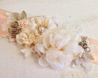 Soft Ivory, Gold & Peachy Blush Sash, Bridal Sash, Vintage Rustic Chic Sash, Floral Rosette Sash, Shabby Chic Sash, Bridal Belt, Maternity