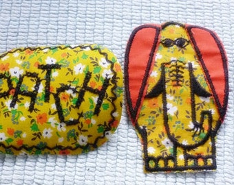 Retro 70s Elephant Patch,2 Vintage Patches,Floral Retro Iron on,Sew On Patch