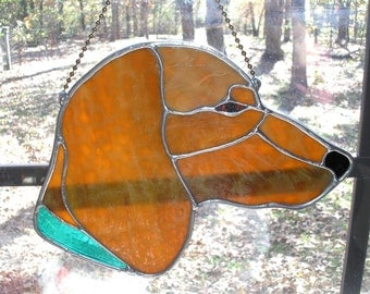 LT Stained glass Red Dachshund dog sun catcher light catcher with aqua turquoise textured clear glass collar