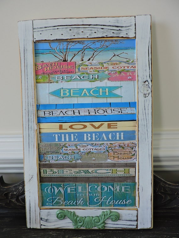 Items similar to wooden sign decoupage decor wall for Beachy decor items