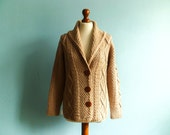 Vintage chunky knit sweater cardigan / light brown / beige / thick warm cozy / slouchy loose / medium