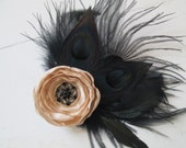 Nude Rose & Black Peacock Wedding Fascinator, Champagne- Golds Bridal Flower Hair Clip, Feather Gatsby Head Piece, Rustic- Vintage Bride