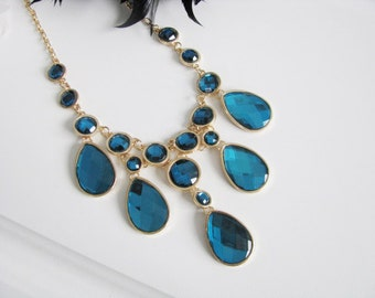Teal Faceted Glass Sparkle Statement Wedding Necklace in  gold tone finish Great Bridal Wedding Jewelry Pageant Jewelry
