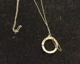 925 Sterling Silver ring pendant on 925 chain vintage stunning