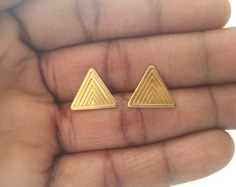 Triangle Earrings - Brass Earrings - Triangle Stud Earrings  - Minimalist Jewellery