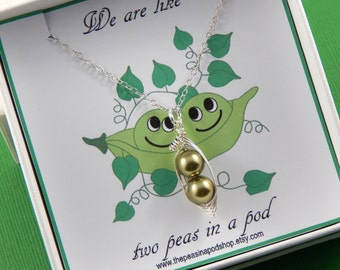 Two Green Peas In A Pod Gift Box With A Sterling Silver Necklace Friendship Necklace, Sisters Shower Gift Choose Your Colors