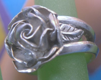 Size 6 Ring : Vintage Sterling Silver Open Rose  Hand Crafted Signed AS & More (99.07)
