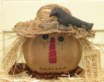 "Primitive Scarecrow Head - Fabric Scarecrow Sitter - Centerpiece - Halloween -  Fall Tuck -""Scarin' Crows"""