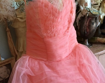Oh To Be A Girl In The 1950s Vintage Bubble Gum Pink Tulle Prom Dress