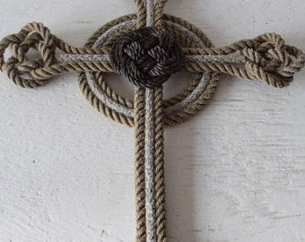 Handmade Cross Made from Rope Knotted Nautical Cross Great Gift Wedding Baptism Christmas EAster
