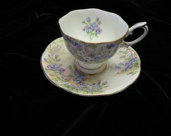 """Royal Albert Bone China Cup and Saucer """"Fringed Gentian """"Pattern"""