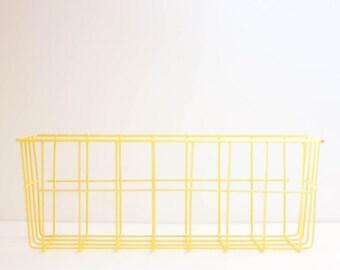 Vintage yellow vinyl coated wire basket, long rectangular storage bin organizer