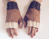 Womens coffee time organic cotton fingerless gloves