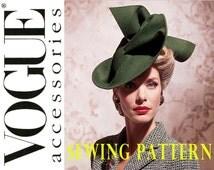1930s 1940s Hat Pattern Vogue 7464 Uncut Vintage Wide Brimmed Rosettes Netting Veil Wedding Bridal Womens Sewing Patterns