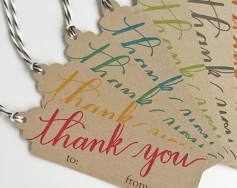 Thank You Gift Tags - KraftTags with Bakers Twine (set of 8)