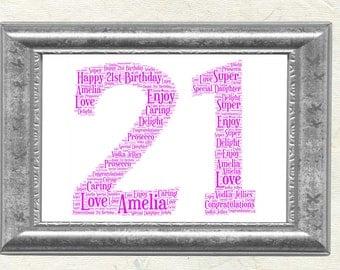 21st Birthday Personalised Word Art Print Gift Keepsake
