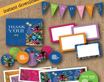 "INSTANT DOWNLOAD: DIY Printables - Party Pack - ""Ocean Classic"""