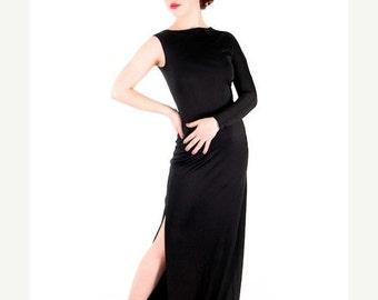 One Sale Thru Feb 14 Sale Vintage Designer Dress  Rudi Gernreich One Shoulder Gown Black Silk Knit  1970s Extra Small