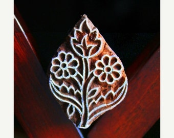 THANKSGIVING SALE Hand Carved Indian Wood Textile Stamp Block- Flowers (ON Sale)