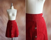vintage 1970's cherry red suede high waisted a-line snap mini skirt / size m