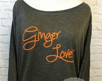 Ginger Lover Flowy off the Shoulder Long Sleeve T-shirt