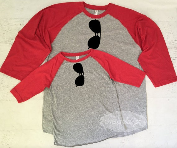 Baseball Vintage Look Raglan Two Tone T-shirt Daddy and Me Aviator Set Perfect Fathers Day or New Dad Gift