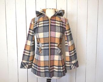 Wool Plaid Coat Hooded Bell Sleeves Womens Vintage Jacket 1970s Blue Tan White Small Medium